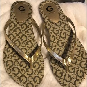 Guess Sandals 10 M Gold and Black